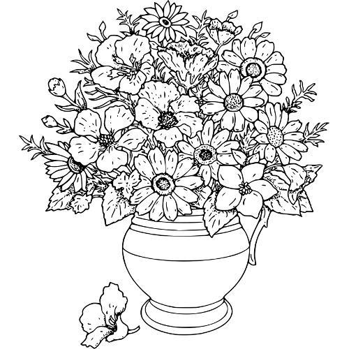 Kolorowanki Kwiaty Wazon Dzikich Kwiatow Kolorowanka Do Wydruku